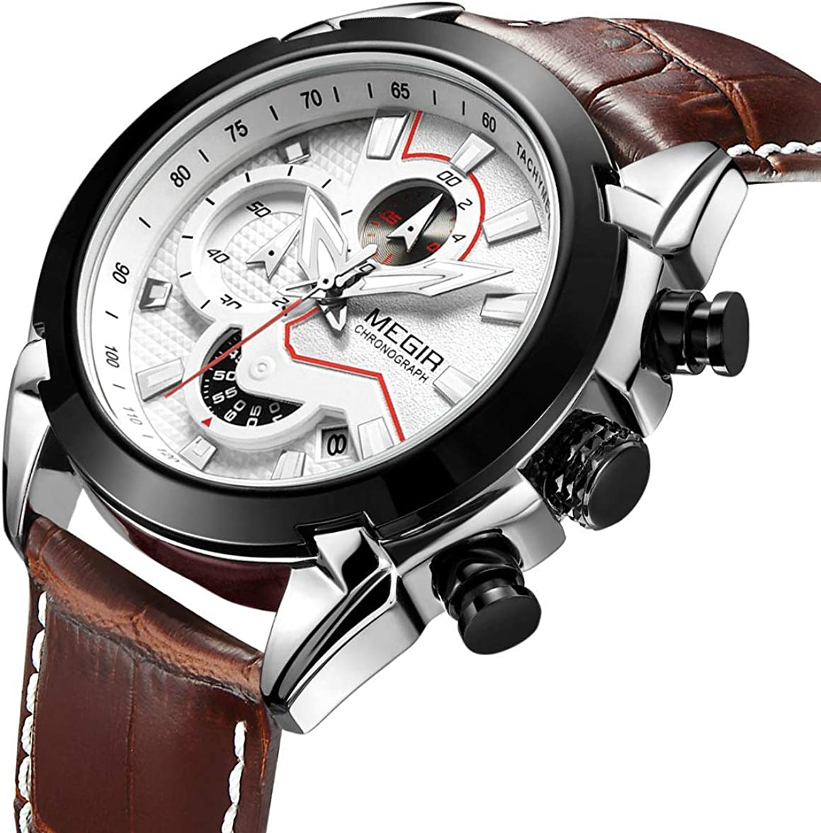 Big Face MEGIR - Reloj de pulsera analógico para hombre con cronógrafo y correa de piel luminosa
