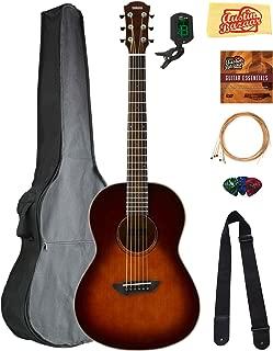 Yamaha CSF3M All-Solid Parlor Acoustic Guitar - Old Violin Sunburst Bundle with Gig Bag, Tuner, Strings, Strap, Picks, Austin Bazaar Instructional DVD, and Polishing Cloth