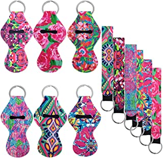 6 pcs Chapstick Holders with 6 pcs Keychains, FineGood Neoprene Lipstick Protective Cases Cover Portable Balm Holders, with Neoprene Wristlet Lanyards