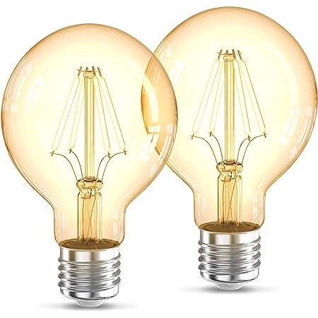 B.K.Licht Lot de 2 ampoules LED Edison Vintage G80 I E27, 4W, blanc chaud 2200K, intensité lumineuse 320lm, ampoule rétro à filament