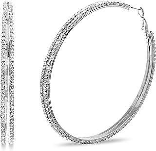 Rhinestone Large Split Hoop Earrings