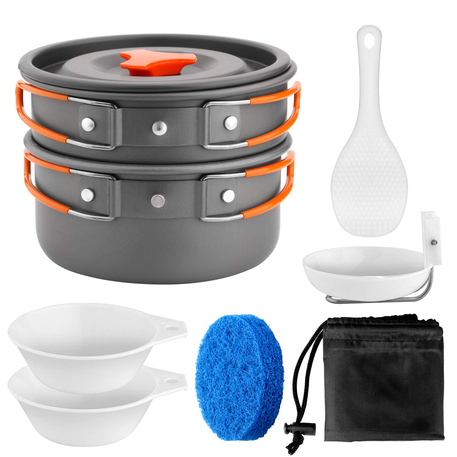GreensKon Camping Cookware Kit,Outdoor Cooking Set Non Stick Camping Pans and Pots 2 to 3 People Backpacking,Hiking,Camping