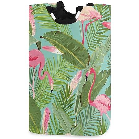 CaTaKu Panier à linge en palmier tropical en forme de flamant rose exotique Grande boîte de rangement étanche facile à transporter pour dortoir familial, buanderie, 12,6 x 11 x 22,7 pouces