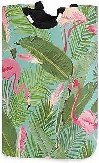 CaTaKu Panier à linge en palmier tropical en forme de flamant rose exotique Grande boîte de rangement étanche facile à tra...