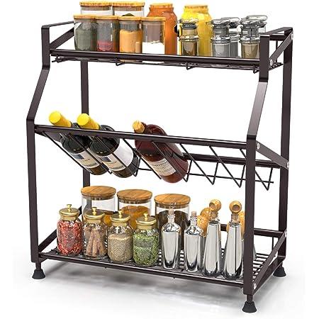 Spice Rack 3 Tier iSPECLE Spice Organizer Standing Rack Countertop Storage for Kitchen Bathroom