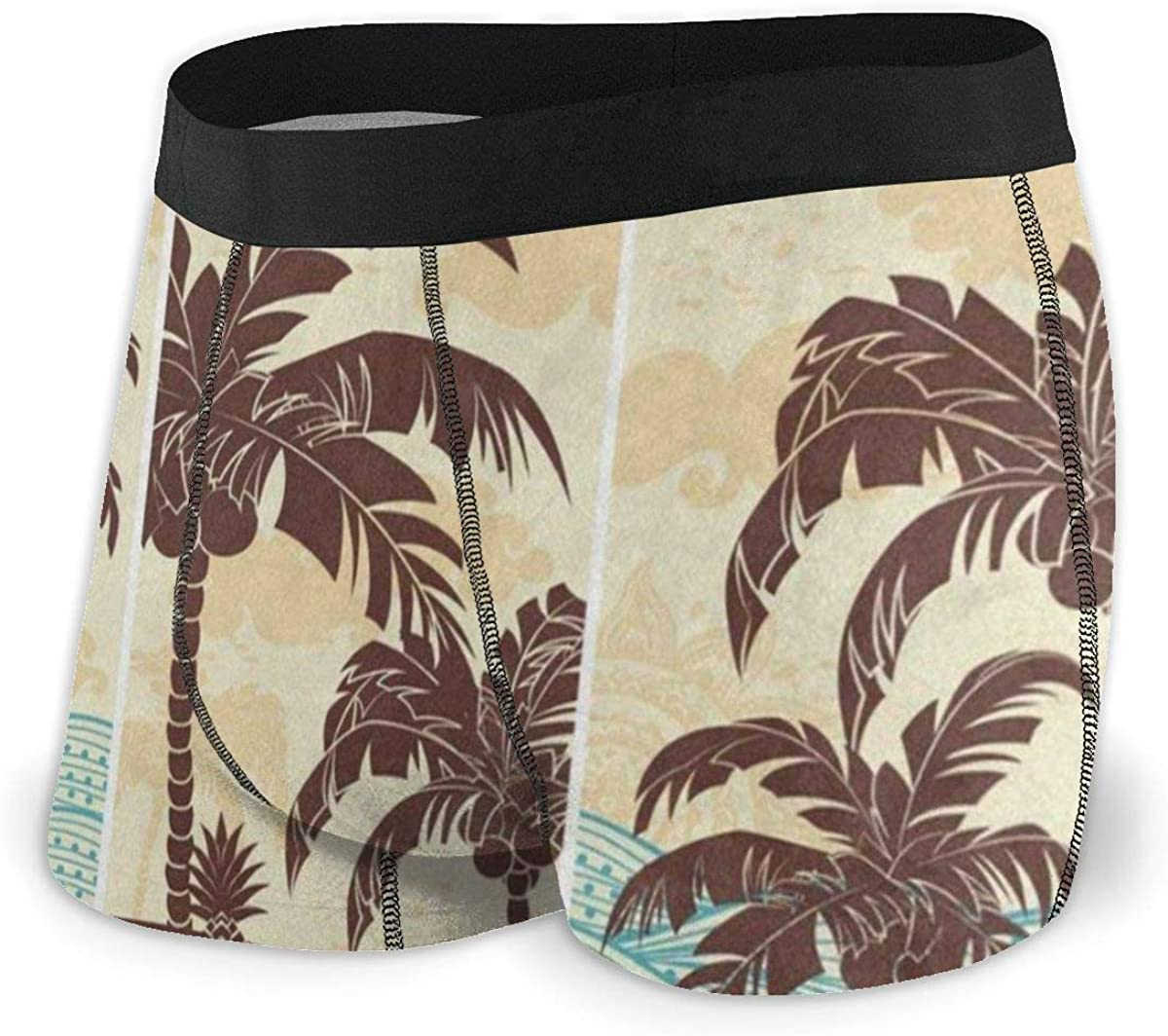 Mens Boxer Briefs Vintage Hawaiian Island Ocean Palm Tree Breathable Underwear