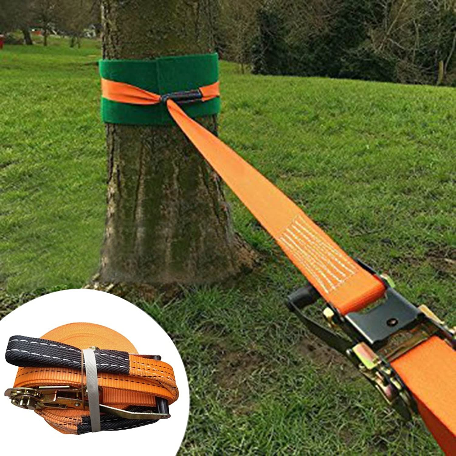 Slackline kit,FOME Slackline Set Slackers Slackline with Super Strong Slackline Ratchet Nylon Beginner Slackline 49ft1.96in(orange)