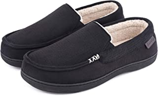 Men's Comfy Suede Memory Foam Moccasin Slippers Warm Sherpa Lining House Shoes with Anti-Skid Rubber Sole