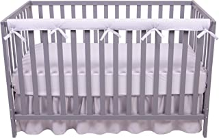 Sammy & Lou 1 Narrow Long Reversible, Velour Rail Cover, Protector Safe Teething Guard Wrap, White & Gray