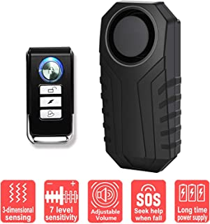 GREENCYCLE 1 Pack IP55 Waterproof Wireless Adjustable Volume Super Loud113dB Vibration Burglar Sensor Alarm for Vehicle Bicycle Electric Tricycle with Remote Control
