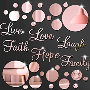3D Acrylic Mirror Wall Decor Stickers DIY Faith Live Laugh Hope Love Family Mirror Wall Decor Solid Circle Mirror Wall Decal for Home Office School Classroom Teen Dorm Room Decoration (Rose Gold)