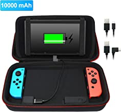 Stand Charging Case Bag Compatible with Nintendo Switch with Built-in 10000mAh Recharge Battery and 8 Game Card Holders - Black