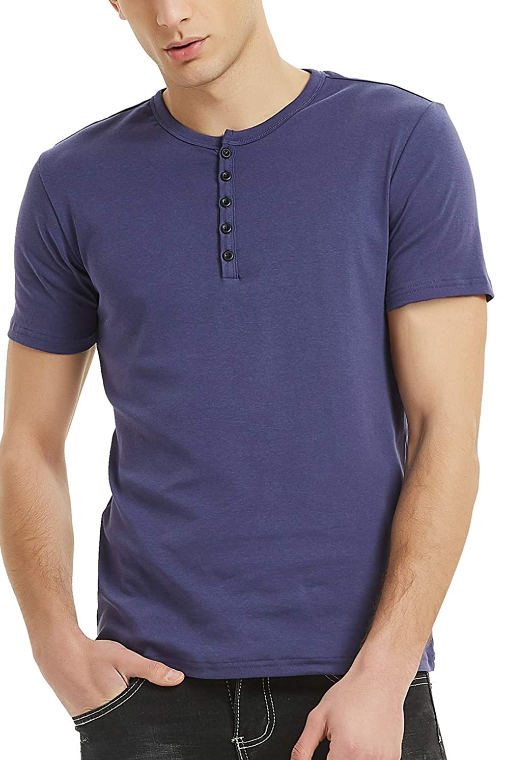 Henley Shirts for Men Short Sleeve Cotton Henley Button Tee