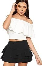 WearAll Women's Frill Trim RARA Skirt High Waisted Plain Skort Stretch Shorts