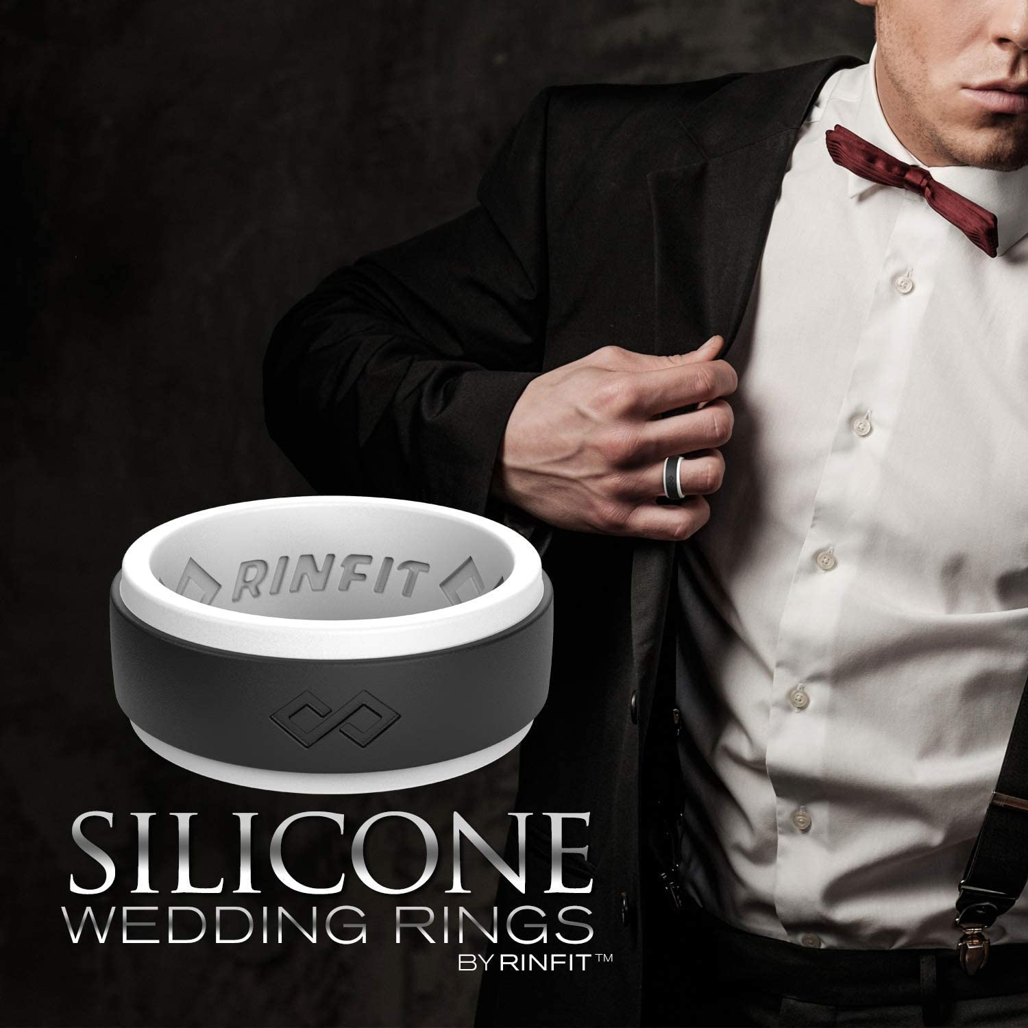Rinfit Silicone Wedding Ring for Men, 1/3/4/7 Rings Packs, Step Edge Design Silicon Rubber Mens Wedding Band Sizes 7-14