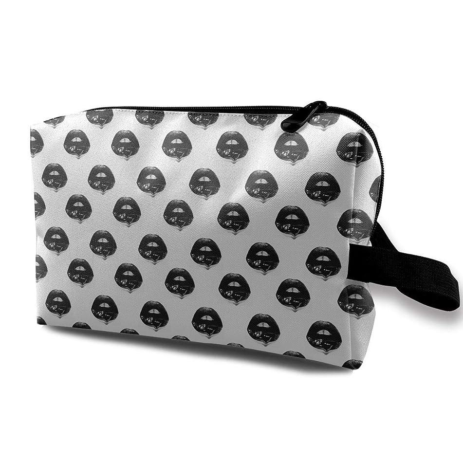 Mintslove Women's Cool Black Lips Seamless Art Travel Hanging Toiletry Bag Portable Travel Kit Shaving Bathroom Storage Bag Waterproof Cosmetic Organize