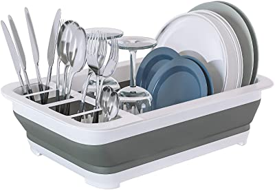 Home Intuition Collapsible Pop Up Portable Dish Drying Rack Drainer and Utensil Dryer for Kitchen and RV Camper, 14.25 x 12.5 x 5 Inches, White