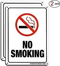 No Smoking Sign, 2 Pack No Smoking Aluminum Metal Reflective Signs, 10