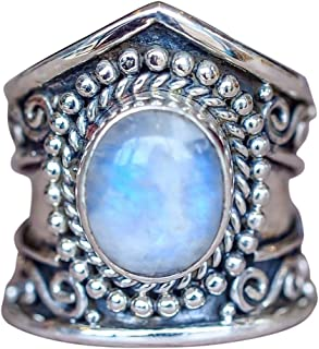 Muranba Boho Jewelry Silver Natural Gemstone Marquise Moonstone Personalized Ring