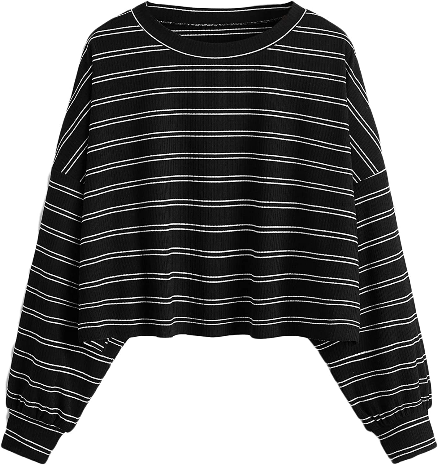 Romwe Women's Plus Size Striped Shirts Long Sleeve Drop Shoulder Ribbed Tee Tops