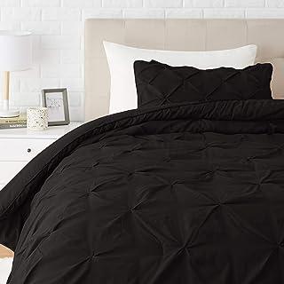 Amazon Basics Pinch Pleat Down-Alternative Comforter Bedding Set - Twin / Twin XL, Black