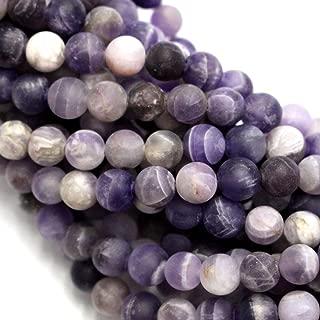 Natural Color Genuine Unpolished Matte Amethyst Round Real Gemstones Loose Beads for Jewerly Bracelet Making (6mm)
