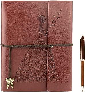 YAOHU A5 Libreta Bonitas, Cuaderno de Cuero Vintage Diario de Viaje Recargable Bloc de Notas con Página en Blanco Regalo original San Valentín Navidad cumpleaños para Hombre Mujer Niños, Marrón S