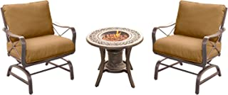Hanover SUMRNGT3PC-URN Summer Nights 3 Piece Chat Set with Two Cushioned Rockers and a 10,000 BTU Fire Pit Side Tabl Outdoor Furniture, Tan