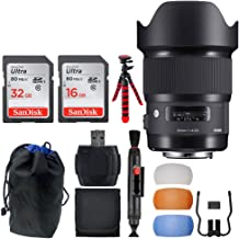 Sigma 20mm F1.4 Art DG HSM Lens for Nikon + 32GB & 16GB Memory Card + Lens Pouch + Flexible Tripod + Ultimate Deluxe Lens Accessory Bundle