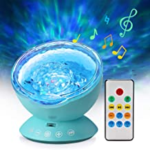 Ocean Wave Projector Lamp Night Light with Remote Control Music Speaker for Bedroom Living Room (Blue)