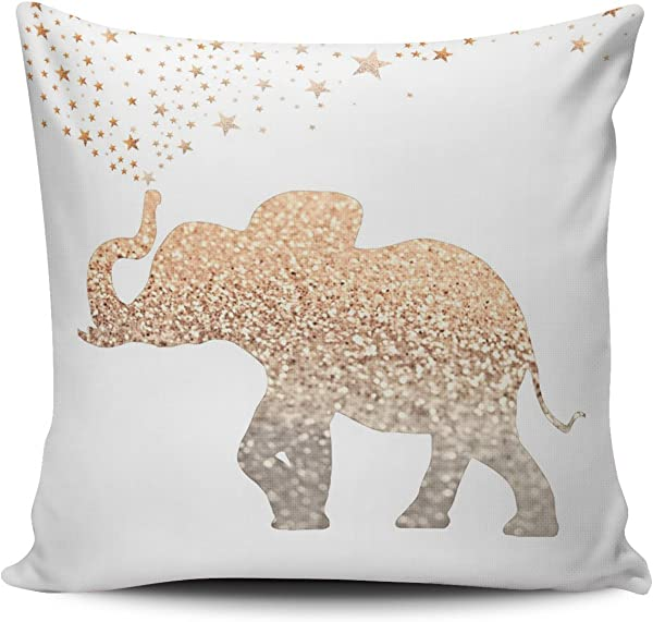KEIBIKE Personalized Gold Elephant European Square Decorative Pillowcases White Decor Zippered Throw Pillow Covers Cases 26x26 Inches One Sided