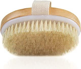 Dry Brush, Body Brush for Cellulite and Lymphatic, Natural Bristle Skin Exfoliator Brush for Remove Dead Skin Toxins, Stimulates Blood Circulation, Medium Strength