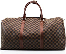 LADIES DESIGNER TRAVEL GYM SPORTS BAG WOMEN STYLE BARREL FLORAL CHECK LUGGAGE (Brown Check)