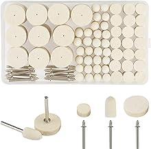 discos de pulir abrasivos KAKOO 123pcs almohadilla de fieltro de pulido pequeño de lana rueda de pulir de limpia fieltro para mecanizado de metal, madera, etc