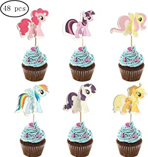 48PCS My Little Pony Cupcake Toppers for Kids Birthday Party Cake Decoration