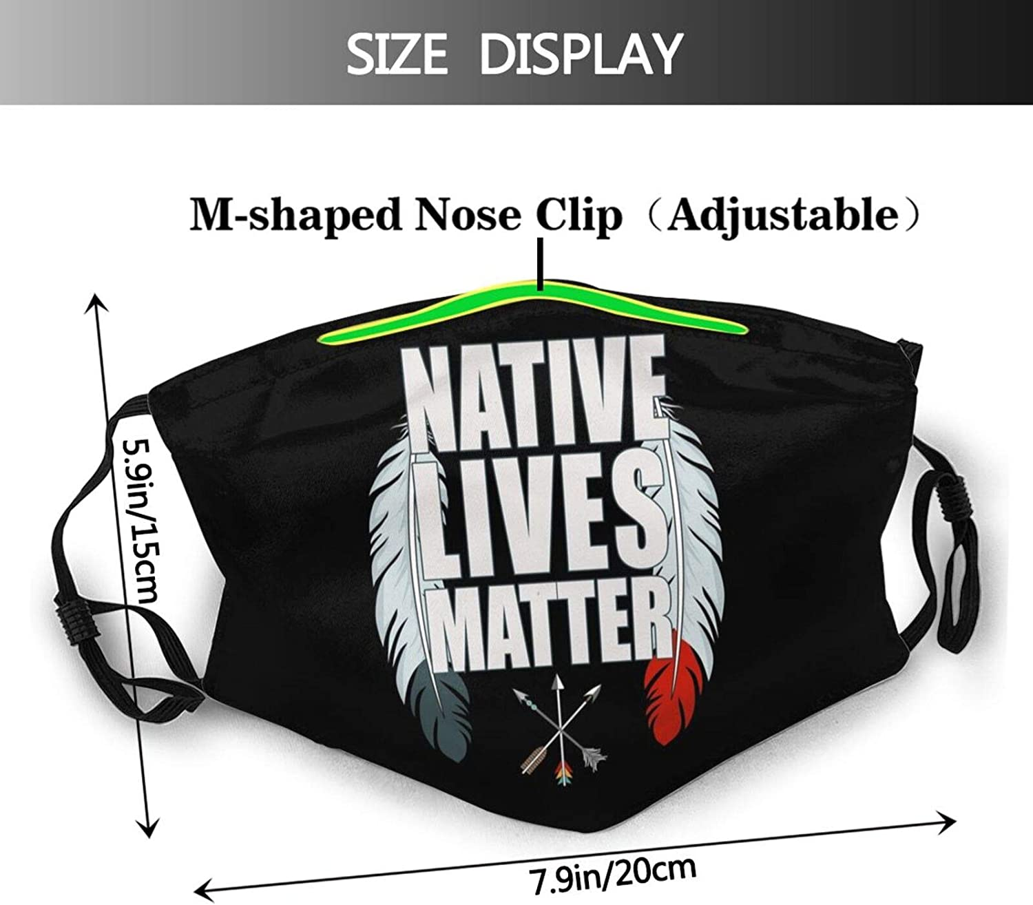 mixozo Strong Resilient Indigenous Cloth Face Mask Scarf, Washable Reusable Adult Bandanas With 2 Filters, For Men & Women