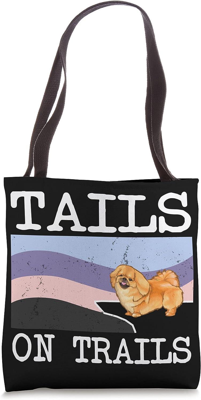 Pekingese Tails On Trails Funny Dog Hiking Tote Bag