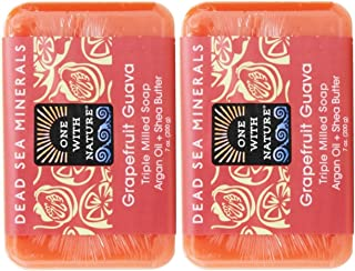 One With Nature Grapefruit Guava Soap (Pack of 2) With Dead Sea Minerals, Argan Oil and Shea Butter, 7 oz. Each