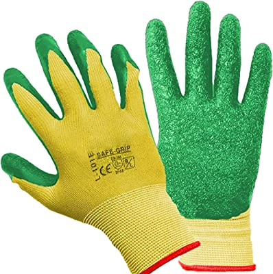 Homecube Home Cube 1 Pair of Reusable Washable Cotton Knitted Safety Gloves with Green Crinkle Finish Latex Nitrile Coating for Gardening,Driving,Cleaning,Sanitation,Virus Protection(Medium Size)