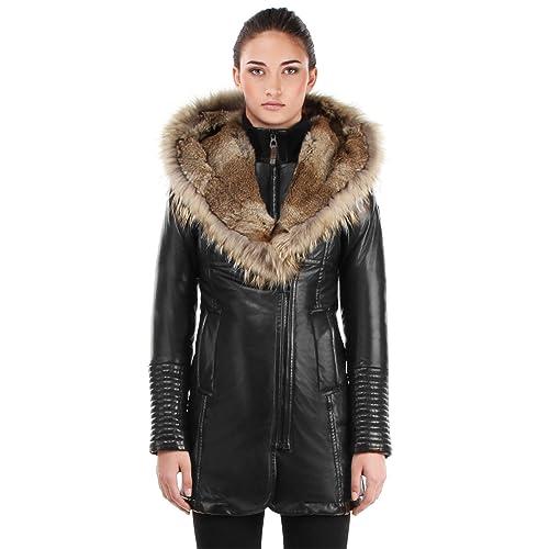 2fd5cb5a63424 Women s Leather Coats with Fur Trim  Amazon.com