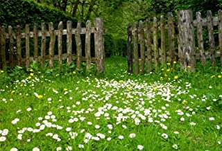 AOFOTO 5x3ft Spring Garden Daisy Flower Backdrop Rustic Wood Fence Summer Meadow Photography Background Forest Wonderland Grass Florets Country Hiking Suburbs Picnic Girl Boy Scouts Photo Studio Props