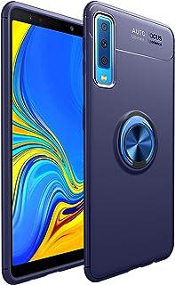 SORAKA Funda para Samsung Galaxy A7 2018 con Soporte de Anillo,Funda de Silicona Soft Slim Fit Carcasas Anti Huella Digital Compatible con Soporte Móvil Coche Magnético