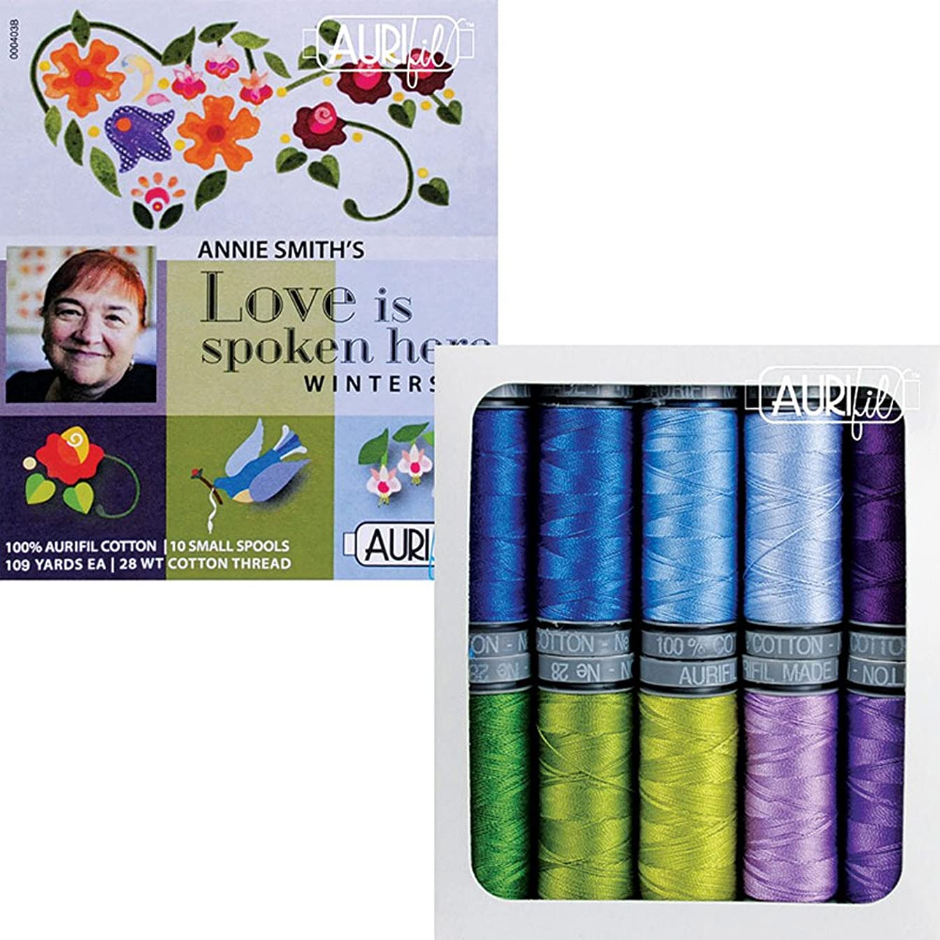 Annie Smith Love Is Spoken Here Winterset Aurifil Thread Kit 10 Small Spools 28 Weight AS28LSHW10, Assorted,