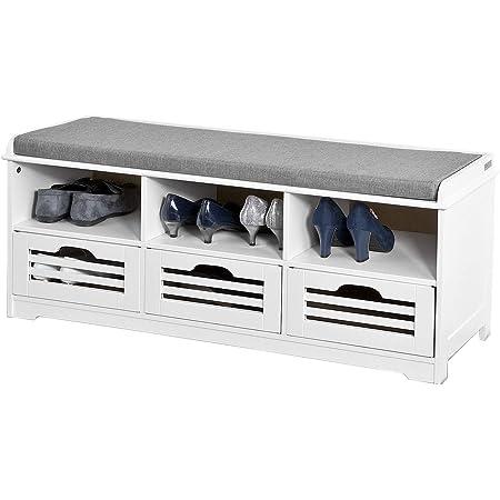 SoBuy FSR36-W Meuble d'Entrée Banc de Rangement Commode à Chaussure - avec Coussin Rembourré, 3 Compartiments Ouverts et 3 Cubes