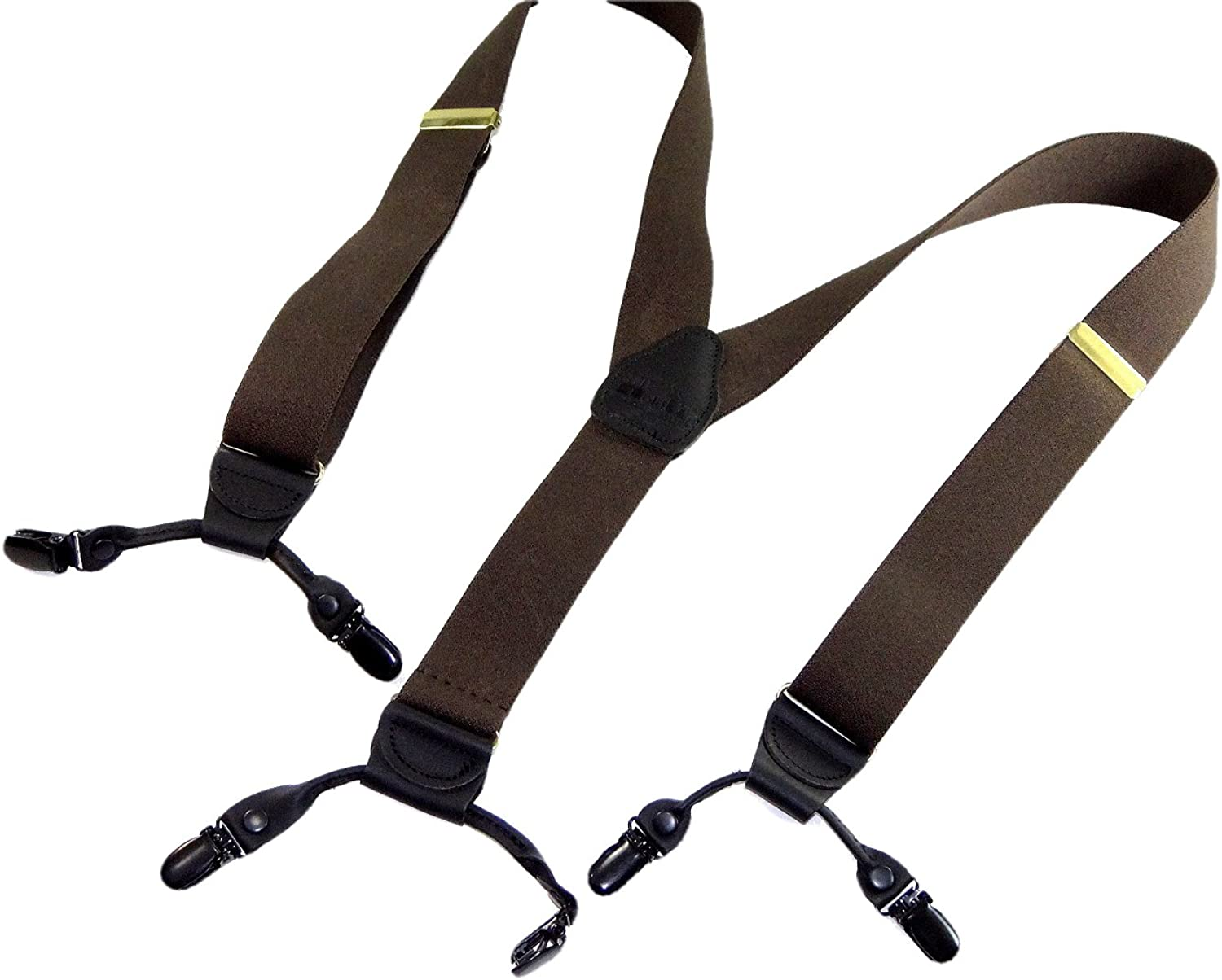 Holdup Suspender Brand Dark Java Brown Colored Casual Series Double-Up Suspenders with black no-slip patented clips
