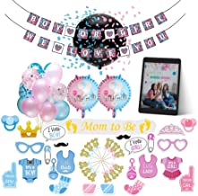 Gender Reveal Party Supplies with Reveal Balloon, Mom To Be Sash, Cake Toppers, Photo Props and more, Easy to Setup, Free Ebook Included