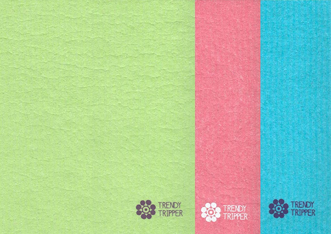 Trendy Tripper Swedish Dishcloth Set Of 3 Solid Colors Made In Sweden Turquoise Pink Apple Pkg