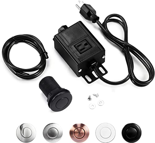 Sink Top Garbage Disposal Air Switch Kit, Disposal Button with Aluminum Alloy Control Module (SHORT PLASTIC BLACK BUT...