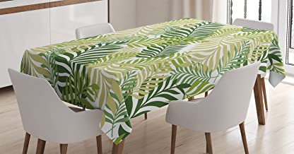Ambesonne Leaf Tablecloth, Tropic Exotic Palm Tree Leaves Natural Botanical Spring Summer Contemporary Graphic, Dining Room Kitchen Rectangular Table Cover, 52