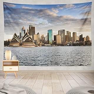 KJONG Australia Sydney from Sunset Sky and Bright Cityscape Line Sydney Skyline Australia Cityscape City Dusk Decorative Tapestry,60X80 Inches Wall Hanging Tapestry for Bedroom Living Room